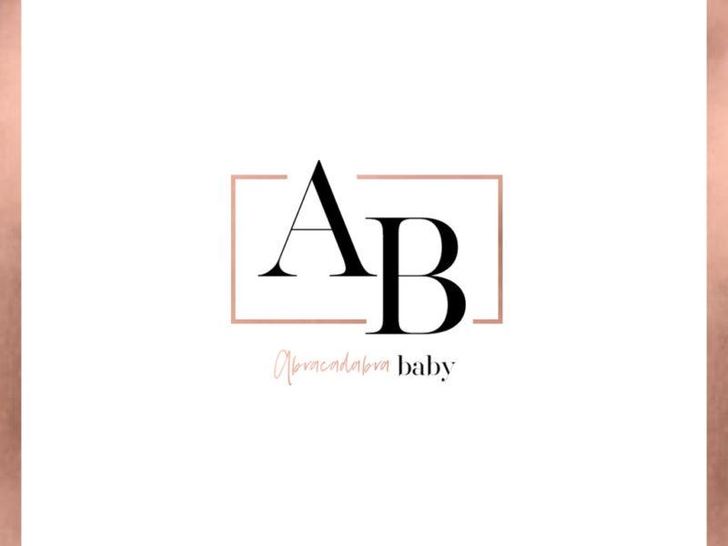 Abracadabra Baby LOGO in Rahmen mit ROSE GOLD Rahmen NEU mit Logo Farbe