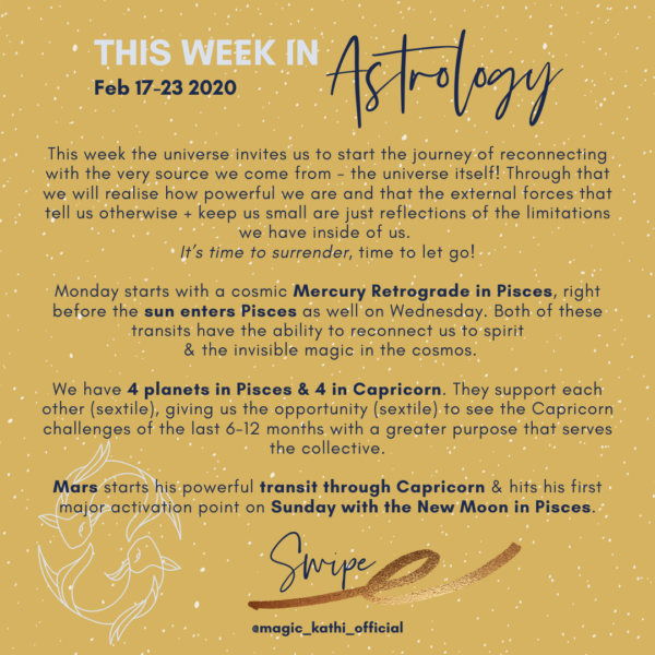 Weekly Forecast: Mercury Retrograde in Pisces, Mars in Capricorn and New Moon in Pisces!