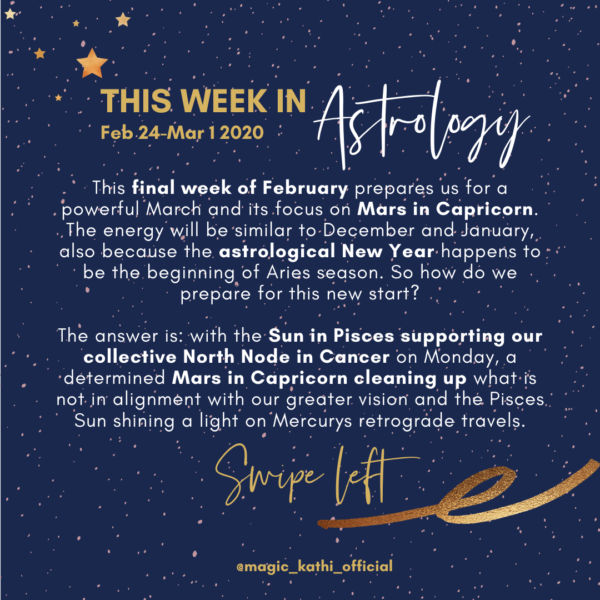 This week in Astrology: Mercury Retrograde in Pisces is highlighted by the Sun & Mars in Capricorn!